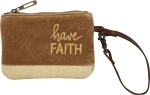 Have Faith Small Velvet Wristlet Handbag With Leather Strap from Primitives by Kathy