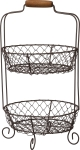 Two Tier Round Wire Basket With Wooden Handle from Primitives by Kathy