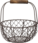 Small Round Wire Basket With Top Wooden Handle from Primitives by Kathy
