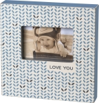 Blue Patterned Love You Decorative Wooden Box Sign Photo Picture Frame (Holds 6x4 Photo) from Primitives by Kathy