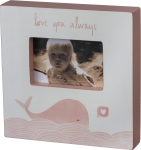 Pink Whale Love You Always Wooden Photo Picture Frame (Holds 6x4) from Primitives by Kathy