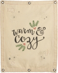 Holly Design Warm & Cozy Decorative Canvas Wall Banner Sign 24x30 from Primitives by Kathy