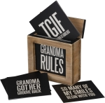 Words Of Wisdom Hinged Wooden Box With Grandma Rules Cards from Primitives by Kathy