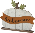 Large Pumpkin Shaped Welcome Decorative Home Décor Wooden Sign 20x16 from Primitives by Kathy