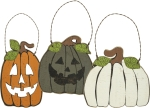 Set of 3 Jack O Lantern & Pumpkins Hanging Wooden Ornaments from Primitives by Kathy