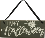 Spider Web Design Happy Halloween Hanging Wooden Sign 10x4 from Primitives by Kathy