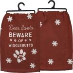 Dog Lover Dear Santa Beware Of Wigglebutts Cotton Dish Towel 28x28 from Primitives by Kathy