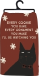 Cat Lover Every Cookie You Make I'll Be Watching You Cotton Dish Towel 28x28 from Primitives by Kathy