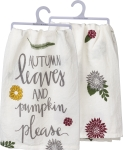 Autumn Leaves And Pumpkin Please Cotton Dish Towel 28x28 from Primitives by Kathy