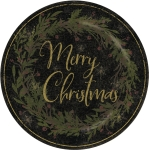 Holly Wreath Design Merry Christmas Decorative Stoneware Plate 12 Inch from Primitives by Kathy
