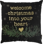 Welcome Christmas Into Your Heart Decorative Cotton Throw Pillow 18x18 from Primitives by Kathy
