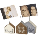 Set of 3 Wooden House Shaped Photo Holder Blocks (Blessed & Our Nest & Choose Happy) from Primitives by Kathy