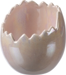 Cracked Egg Shape Glossy White Stoneware Planter 5 Inch from Primitives by Kathy