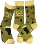 Dog Lover Never Fish Alone Colorfully Printed Cotton Socks from Primitives by Kathy