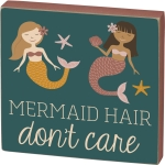 Starfish Mermaid Hair Don't Care Decorative Wooden Box Sign 5x5 from Primitives by Kathy