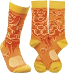 Sweeter Than Honey Colorfully Printed Cotton Socks from Primitives by Kathy