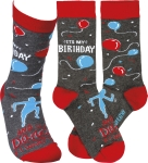It's My Birthday & I'll Dance If I Want To Colorfully Printed Cotton Socks from Primitives by Kathy