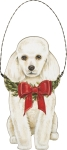 Christmas Poodle Hanging Wooden Ornament 5 Inch from Primitives by Kathy