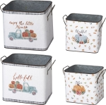 Set of 2 Double Sided Fall Themed Tin Storage Bins (Thankful & Hello Fall) from Primitives by Kathy