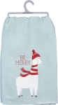 Llama Wearing Beanie & Scarf Be Merry Christmas Cotton Dish Towel 28x28 from Primitives by Kathy