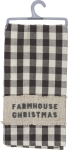 Farmhouse Christmas Checkered Background Cotton Dish Towel 20x28 from Primitives by Kathy