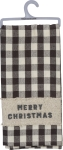 Checkered Design Merry Christmas Cotton Dish Towel 20x28 from Primitives by Kathy