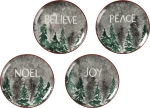Set of 4 Snowy Pines Decorative Plates (Believe & Peace & Joy & Noel) 8 Inch from Primitives by Kathy