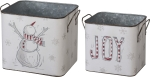 Set of 2 Decorative Metal Storage Bins (Snowman Joy) from Primitives by Kathy