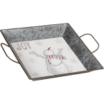 Snowman & Scarf Joy Decorative Metal Tray 13x10 from Primitives by Kathy