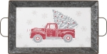 Christmas Tree Truck Home For The Holidays Decorative Metal Tray 16.75x10.25 from Primitives by Kathy
