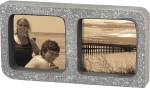 Gray Cement Dual Picture Photo Frame (Holds two 6x4 Photos) from Primitives by Kathy