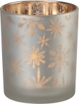 Small Silver Snowflake Design Glass Tea Light Candle Holder from Primitives by Kathy