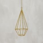 Geometric Gold Glitter Teardrop Hanging Christmas Ornament 5.5 Inch from Primitives by Kathy