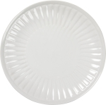 Set of 4 Fluted Cream Colored Stoneware Dinner Plates from Primitives by Kathy
