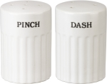 Pinch Dash Cream Colored Stoneware Salt & Pepper Shaker Set from Primitives by Kathy