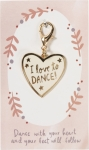 Heart Shaped I Love To Dance Enamel Charm & Backer Card from Primitives by Kathy
