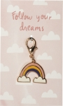 Rainbow Shaped Follow Your Dreams Enamel Charm & Backer Card from Primitives by Kathy