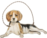 Small Wooden Beagle Hanging Ornament 5x3 from Primitives by Kathy