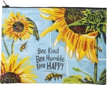 Bee Kind Bee Humble Bee Happy Double Sided Zipper Folder Bag from Primitives by Kathy