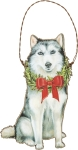 Christmas Husky Hanging Wooden Ornament 5.25 Inch from Primitives by Kathy