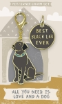 Best Black Lab Ever Dog Collar Charm & Matching Owner Keychain from Primitives by Kathy