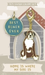 Best Boxer Ever Dog Collar Charm & Matching Owner Keychain on Backer Card from Primitives by Kathy
