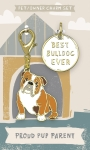 Best Bulldog Ever Dog Collar Charm & Matching Owner Keychain on Backer Card from Primitives by Kathy