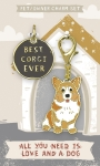 Best Corgi Ever Dog Collar Charm & Matching Owner Keychain on Backer Card from Primitives by Kathy