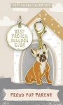 Best French Bulldog Ever Dog Collar Charm & Matching Owner Keychain on Backer Card from Primitives by Kathy