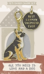 Best German Shepherd Ever Dog Collar Charm & Matching Owner Keychain on Backer Card from Primitives by Kathy