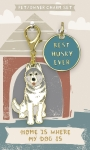 Best Husky Ever Dog Collar Charm & Matching Owner Keychain on Backer Card from Primitives by Kathy