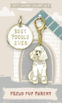 Best Poodle Ever Dog Collar Charm & Matching Owner Keychain on Backer Card from Primitives by Kathy