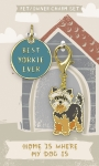 Best Yorkie Ever Dog Collar Charm & Mathing Owner Keychain on Backer Card from Primitives by Kathy