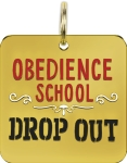 Obedience School Drop Out Hard Enamel Dog Collar Pet Charm from Primitives by Kathy